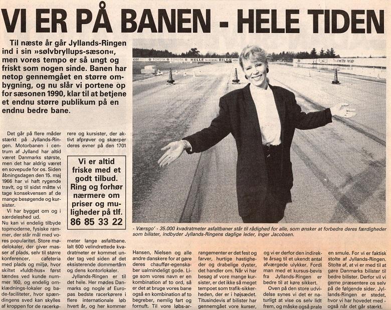 Tekst fra avisen med et fint billede af Inger Jacobsen, der var daglig leder på anlægget på den tid.