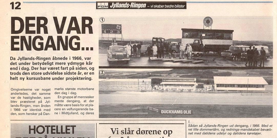 Et dobbeltbillede, hvor man øverst ser faciliter og mandskab ved baneindvielsen i maj 1966. Nederst det nye look efter ombygningen  i 1990.