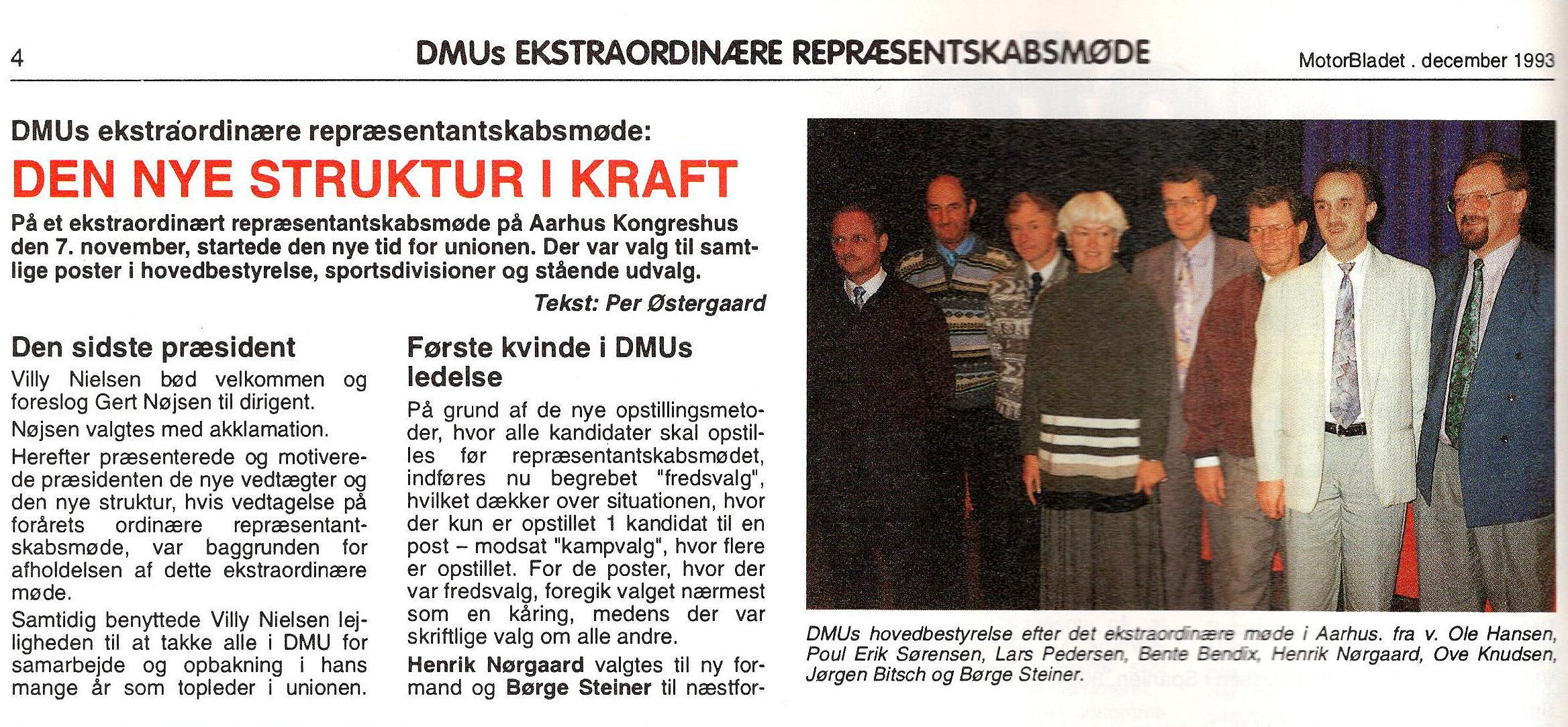 """DMU´s bestyrelse i 1993 efter overgang til """"Den Nye Struktur""""."""