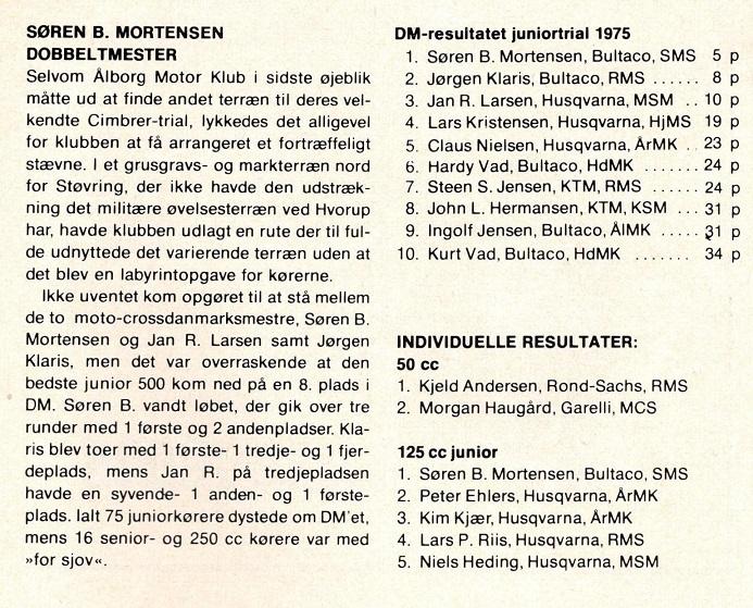 Omtale og resultat DM H-trial junior 1975.