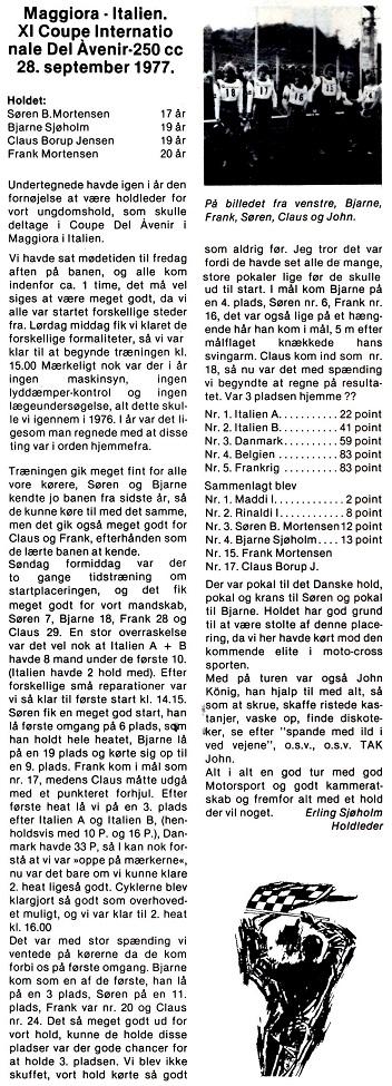Søren lavede en god præstation i Coupe de´Lavenir 1977. MB 1977-11.