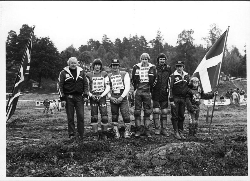1979 Trophee des Nations, Järva, Sverige. Det danske hold Ole Svendsen, Søren, Frank Svendsen, Arne Lodal. Erling Sjøholm tv, Palle Høst th.