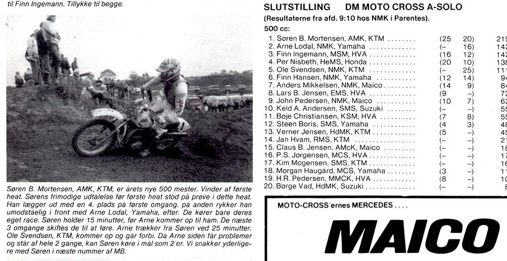 En ny DM sejr i 1982. Denne gang med et mere komfortabelt . forspring til Arne Lodal, som havde en del problemer med materiellet. MB 82-11