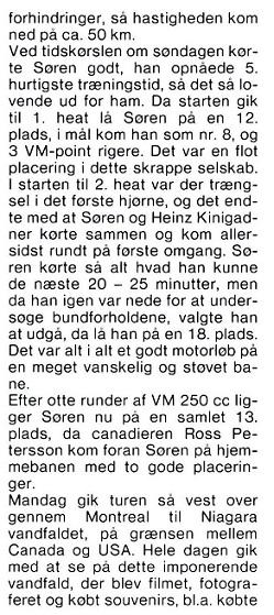 Søren kørte VM afdelingerne i Canada og USA, hvorfra Erling Sjøholm bragte denne beretning. MB 83-09 img2