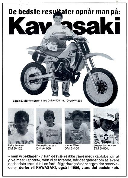 Kawasakis annonce fra MB85-12, hvor man kan se, at Yamaha har budt over til den nye sæson.
