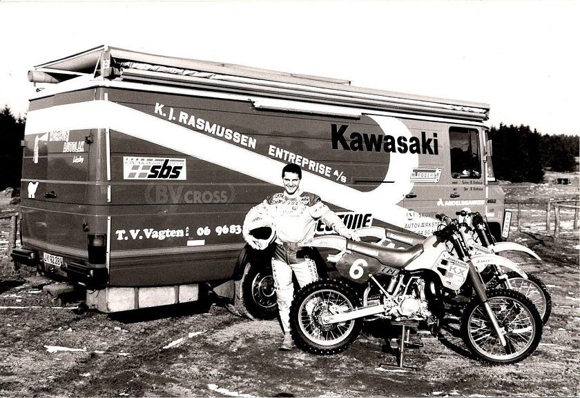 Klar til 1988 med Kawasaki nr. 6. Fotosession på Elling-banen.