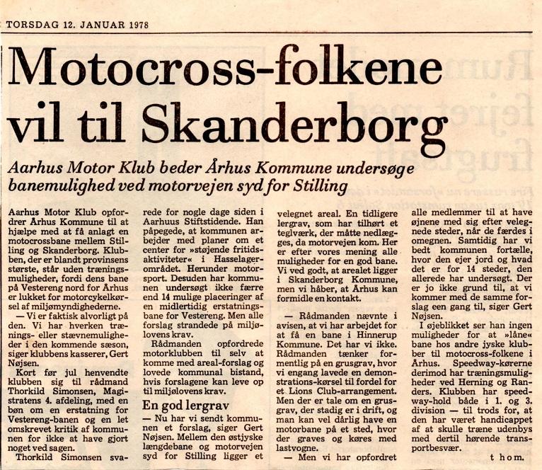 Avisklip 12. jan. 78 Baneproblemer og artikel Søren B. Kramer