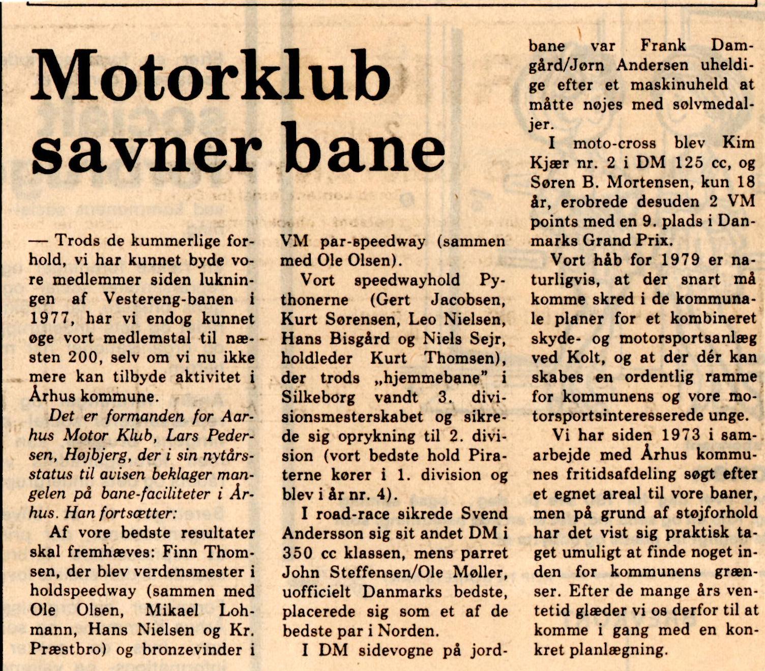 Avisklip Motorklub savner bane og Motorbaneplan 14-01-78