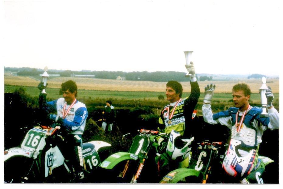 Superheat 1990 blev vundet af Søren B. foran Morten Kristiansen th og Kim Kjær tv.