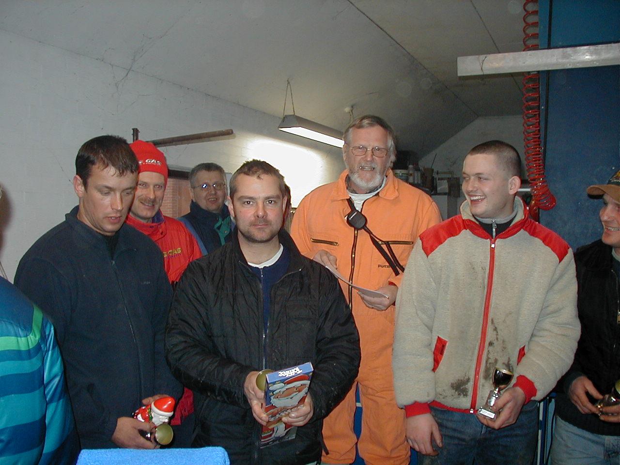 Præmieuddeling img2. De 5 første. Fra venstre Kenneth Mikkelsen 3, Steen Boris 2, Lars Sørensen 1, Michael Dyrlund 4, Søren B. 5