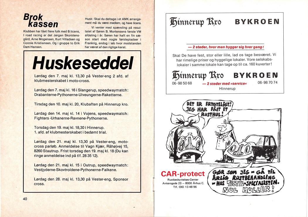 1983-05. Nu annonce for både Bykroen og Hinnerup Kro. Under huskeseddel bemærkes, at klubaftener straks bliver flyttet fra Bykroen til Hinnerup Kro.
