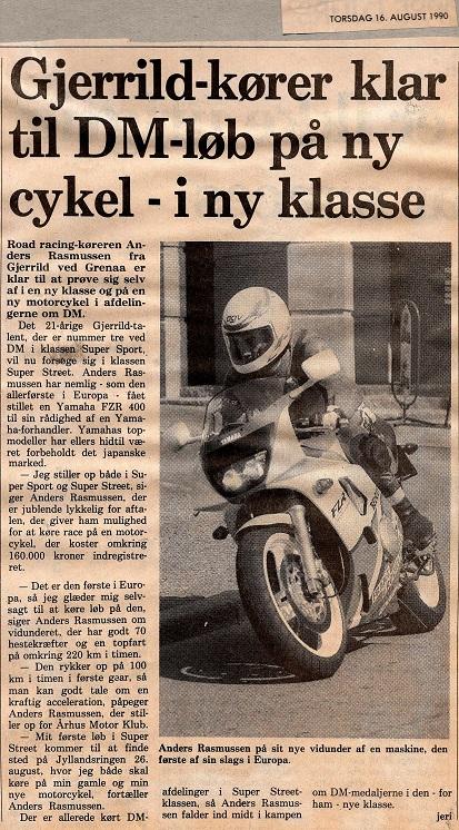 1990-08-16 Dagbladet Djursland. Omtale FZR400