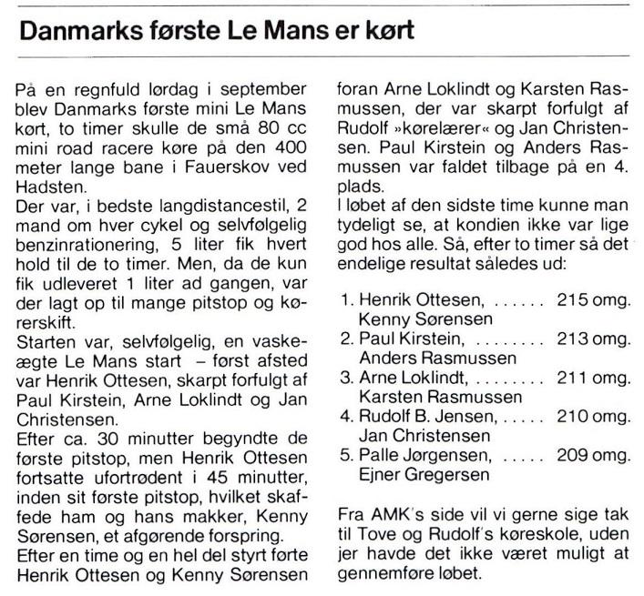 """Omtale i DMU-bladet af """"Le Mans løbet""""."""