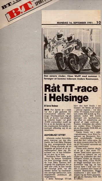 BT havde også en artikel om Helsinge TT