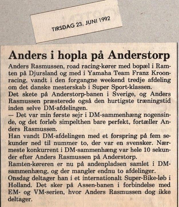 Omtale af sejren på Anderstorp. 1992-06-23 Lokalavisen