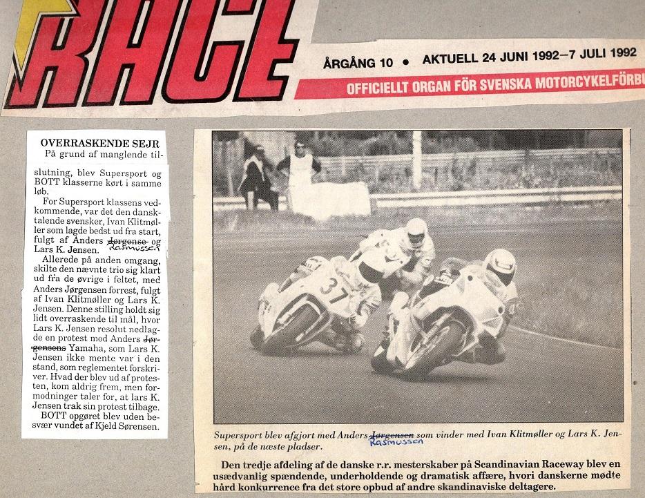 Omtale af sejren på Anderstorp. 1992-06-24 Race