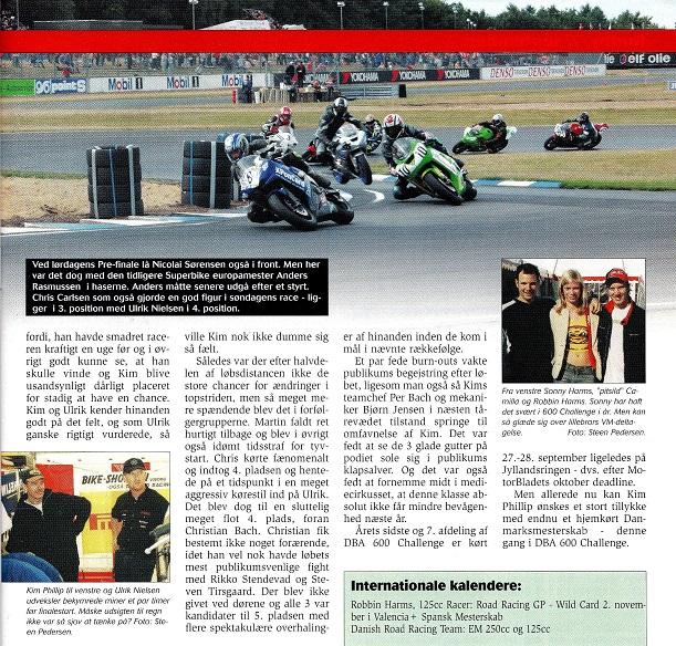 Artikel i Motorbladet med bl. a. slutresultatet i løbsserien. På billedet øverst ses Anders lige efter Nicolai Sørensen i front. Img1