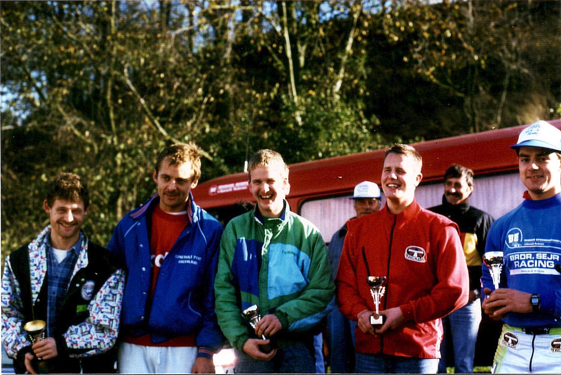 AMK trial Sabro 22 okt. 89. De 5 første i klubmesterskabet 1989. Kim Kjær, Henrik Vedel, Sune Utoft, Jan Laustsen, Lars Sørensen.