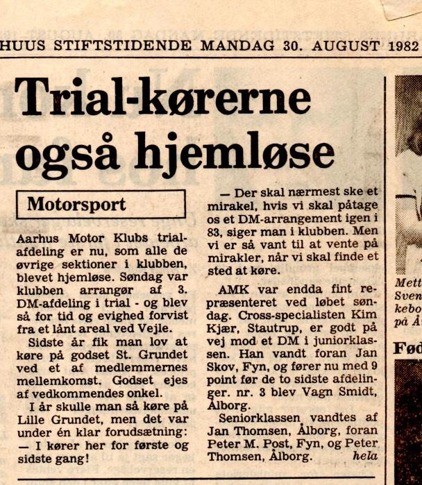 Avisklip trial Lille Grundet hjemløs+Svend efter skade 30. aug. 82