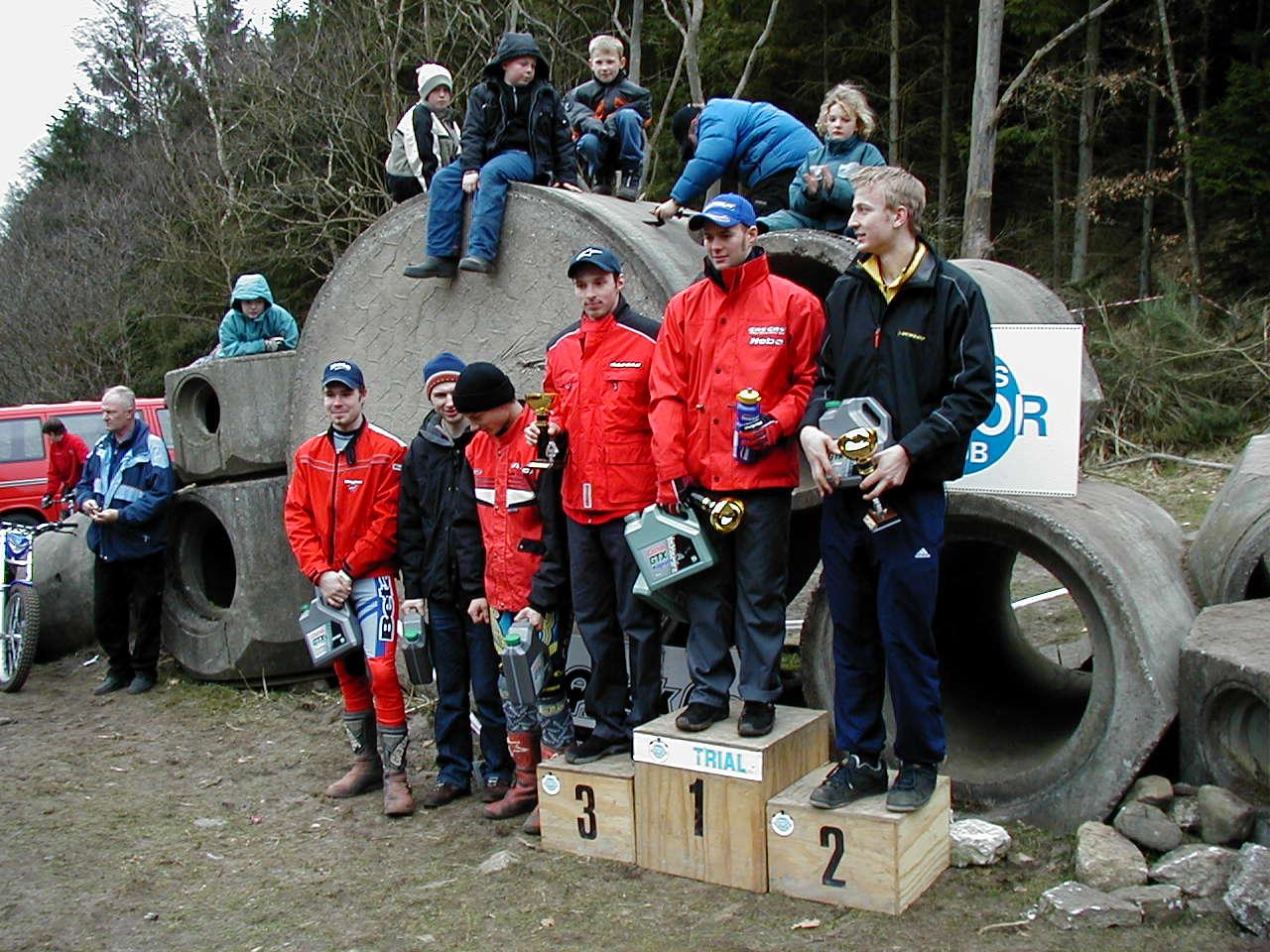 Præmieskamlen i eliteklassen med svenskeren Anders Nielsson øverst.
